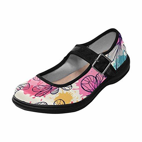 InterestPrint Womens Comfort Mary Jane Flats Casual Walking Shoes Multi 8 a9Ez66Z