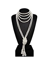 """BABEYOND 1920s Imitation Pearls Necklace Gatsby Long Knot Pearl Necklace 49"""" 59"""" 20s Flapper Accessories"""