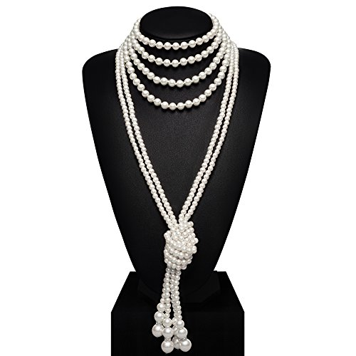 "(BABEYOND 1920s Imitation Pearls Necklace Gatsby Long Knot Pearl Necklace 49"" and 59"" 20s Pearls 1920s Flapper Accessories (Knot Pearl Necklace2 + 59"