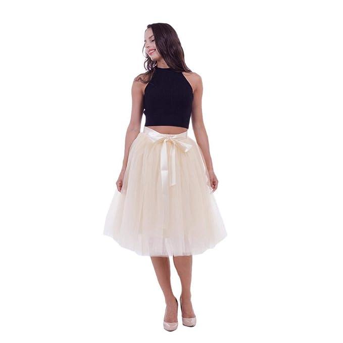 083b7c84f CANDLLY Faldas de Fiesta Mujeres Elegante Tutu Faldas de Botas Faldas  Cortas Faldas Modernas Vestido Roso