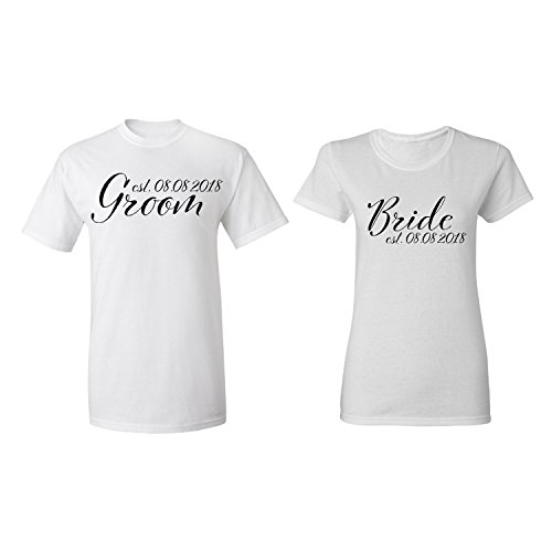 Zexpa Apparel Groom - Bride Personalized Couple Matching Shirt Set Newly Married Customized Valentines Day Men White/Women White