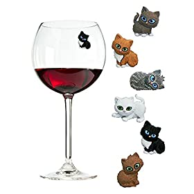 Simply Charmed Cat Wine Charms or Drink Glass Markers – Magnetic – Great Birthday or Hostess Gift for Cat Lovers – Set of 6 Cute Kitty Glass Identifiers