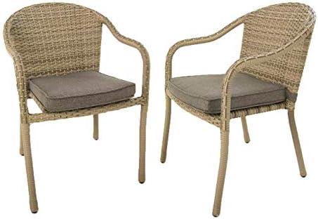 Pack 2 sillones jardín de Aluminio y ratán sintético Color Gris | Apilable | Tamaño:58x55x84 cm | Portes Gratis