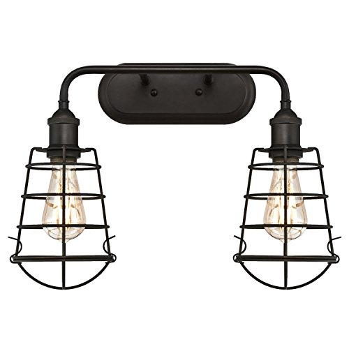 Westinghouse 6337700 Oliver Two-Light Indoor Wall Fixture, Oil Rubbed Bronze Finish with Cage Shades - Two Light Vanity Sconce
