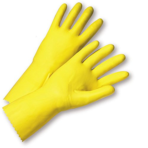 Yellow Flock Lined Gloves (West Chester 3312/7 Standard Flock Lined Latex Gloves, Size 7, Yellow (Pack of 12))