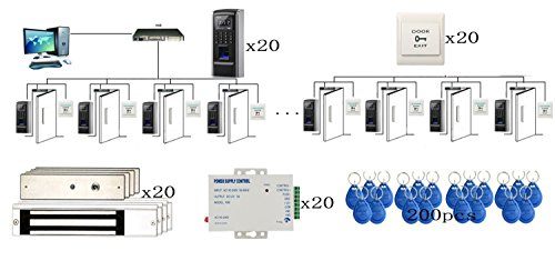DIY 20 Doors Bio Fingerprint & RFID Time Attandance Access Control Systems Power Supply+Electronmagnetic Lock+RFID Keychains+Push to Exit Button by MENGQI-CONTROL