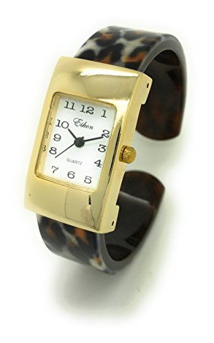 Ladies Small Rectangle Case Acrylic Bangle Cuff Fashion Watch White Dial Eikon (Gold Leopard)