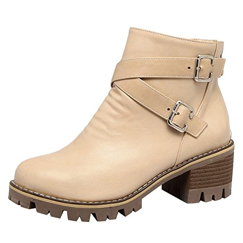 Charm Foot Womens Western Zipper Chunky Mid Heel Short Boots Albicocca