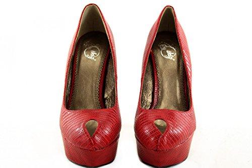 High heels Pumps Damas Guantes Stiletto Plateau de piel de serpiente z6944P Rojo