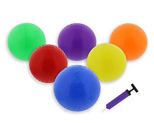 "Get Out! Colorful 8.5"" Inch Play Ball 6-Pack Set & Inflator, Latex Free Kids Small Rubber Playground Four Square Balls & Hand Pump by Get Out!"