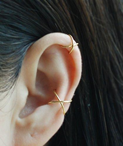 Ear Cuff 20gauge Criss Cross X Ear Cuff Cartilage Earring Fake