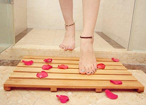 Bath Shower Mat Bamboo Bathroom Floor Non-sliding Square