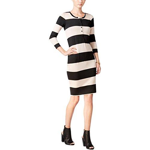 Ciel Chelsea Womens Rayé Noir Henley Shirtdress