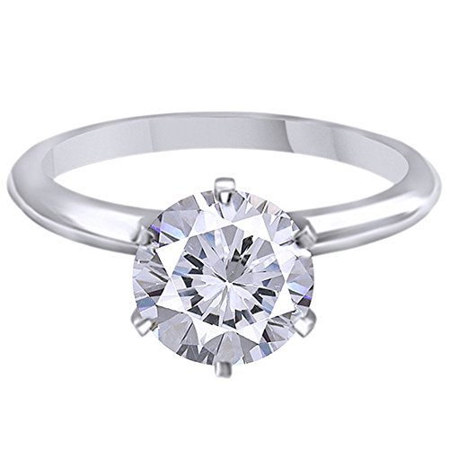 9mm Moissanite Brilliant Solitaire Engagement Ring in 14K Solid (3 Carat)
