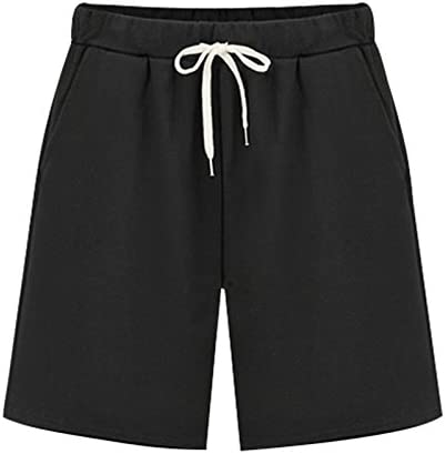 Vcansion Womens Casual Cotton Elastic Waist Drawstring Summer Beach Shorts with Pockets