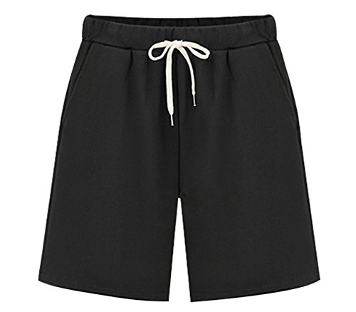 Vcansion Women's Lightweight Casual Shorts Summer Loose Plus Size Shorts Hiking Shorts Elastic Waist Drawstring Black Tag 6XL/US 16W