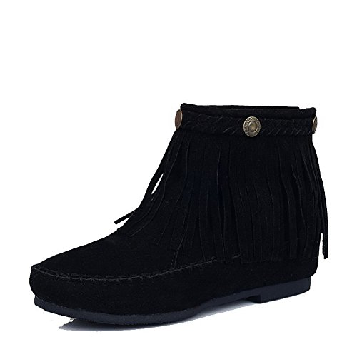 Allhqfashion Women's Low-Heels Solid Round Closed Toe Frosted Zipper Boots Black MnULpOwPR