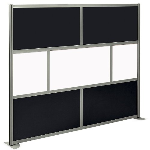 at Work Divider Panel 96''W x 78''H Black Laminate and White Laminate Inserts/Brushed Nickel Finish Aluminum and Steel Frame by NBF Signature Series (Image #2)