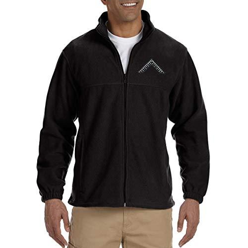 Master's Square Embroidered Masonic Men's Fleece Full-Zip Jacket - [Black][XXX-Large]
