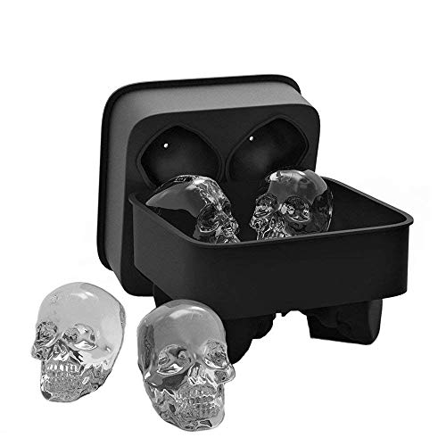 YOUR GIFTS 3D Skull Silicone Ice Cube Tray Mold, Makes Four Giant Skulls, Ice Cube Maker in Shapes for Whiskey Ice and Cocktails,Halloween Party Spooky Fun Bar Tool(Black)