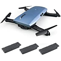 Hot Sales Memela(TM)JJRC H47 Selfie Drone FPV Wifi Altitude Hold G-sensor Foldable 6Axis with HD 720P Camera Headless Mode Quadcopter with Two extra Battery Metal Blue