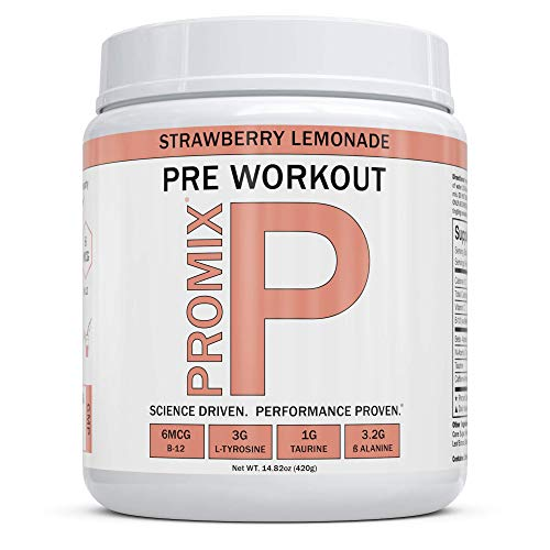 ProMix Nutrition Pre Workout Powder Strawberry Lemonade 40 Servings with Antioxidants Taurine Tyrosine Beta Alanine B12