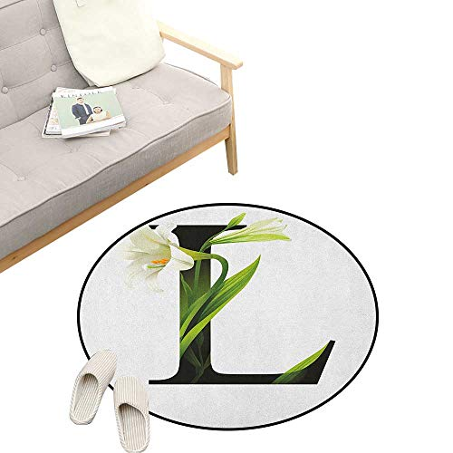 Letter L Custom Round Carpet ,Conceptual ABC Typography Capital L with Lily Flourish Floral Natural Grace, The Custom Round Non-Slip Doormat 23