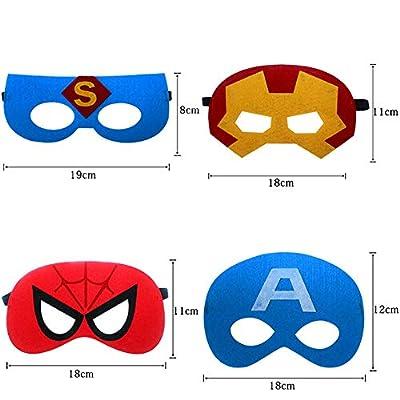 35pcs Cartoon Party Supplies Favors Superhero Masks Children Cosplay Character Felt Masks Party for Kids: Toys & Games