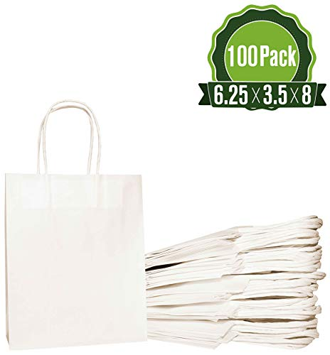 White Kraft Paper Gift Bags Bulk with Handles 6.25x3.5x8 [100 Bags]. Ideal for Shopping, Packaging, Retail, Party, Craft, Gifts, Wedding, Recycled, Business, Goody and Merchandise Bag