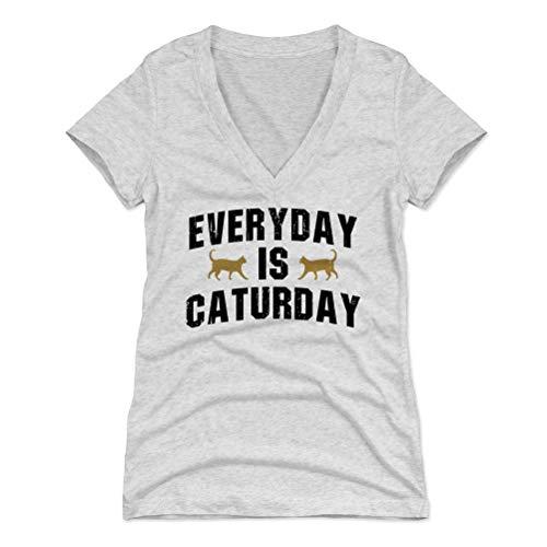 Punny Cat Women's V-Neck Shirt - Everyday is Caturday (Tri Ash, Medium) -