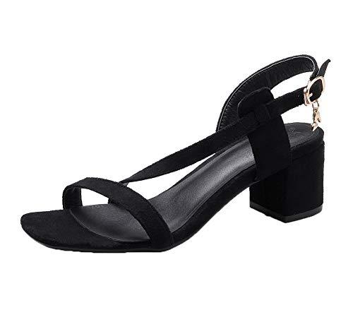Noir Sandales à Boucle GMBLB013590 PU Correct Talon Ouverture Cuir d'orteil Femme AgooLar RqP6Bz