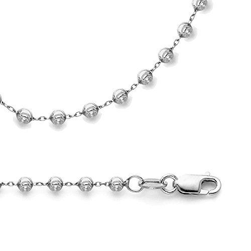 Solid 14k White Gold Necklace Ball Chain Moon Cut Round Beaded Link Polished Genuine 2.4 mm 22 inch (Gold Bead Link Chain)