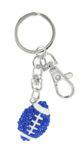 Football Rhinestone Key Chain - Royal Blue Crystals and White Enamel ()