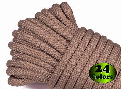 Nylon Utility Rope - Polypropylene Outer Sheath - for Cargo, Crafts, Tie-Downs, Marine, Camping, Swings, Hiking - Coyote Brown 100 Feet