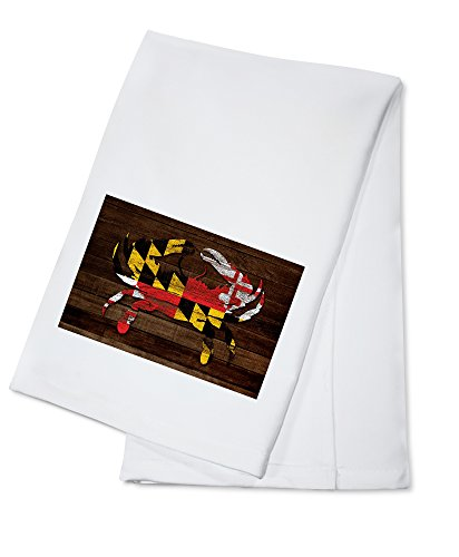 Maryland - Dark Rustic State Flag - Crab - Image Only (100% Cotton Kitchen Towel)