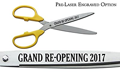 """Pre-Laser Engraved """"GRAND RE-OPENING 2017"""" 25"""" Silver Ceremonial Ribbon Cutting Scissors"""