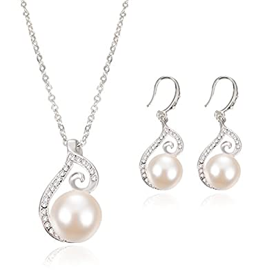 OUFO Silver Plated faux Pearl Necklace Earring Fashion Jewelry sets 2003
