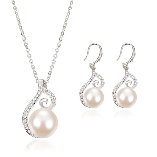 OUFO Silver Plated faux Pearl Necklace Earring Fashion Jewelry sets 2003 (Plated Pearl Set)