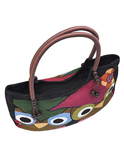 Borsetta borsa da spiaggia, shopping, importata da Tailandia, multicolore, motivi Gufi (42260)