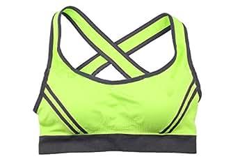 Fidella Women's Yoga Padded Push-up Cross Back Sports Bra S (Green)