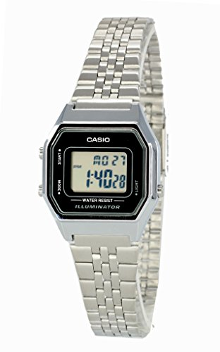 Casio Ladies Mid-Size Silver Tone Digital Retro Watch LA-680WA-1DF (Spring Watch Mid)