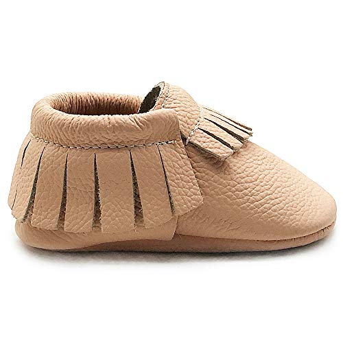 Owlowla Baby Moccasins Leather Soft Sole Newborn Crib Shoes for Boys and Girls(Blush,12-18month)