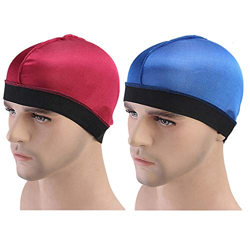 ASHILISIA 2Pack Unisex Spandex Dome Style Wig Cap Mesh Hair Stretchable Silky Bottom Cap Stay On Your Head (Wine Red+Blue)