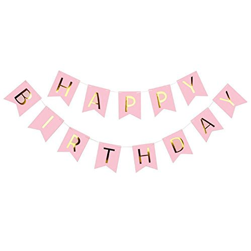 JTGJ 1Set Happy Birthday Paper Flags Garland Floral Bunting Banners Letter Garlands Baby Boy&Girl Kids Birthday Party Decorations (Pink) -