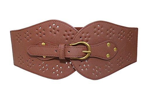 Modeway Womens Wide Leather Elastic Stretch Cinch Waist Belt(L-XL,Coffee) AQ03-2
