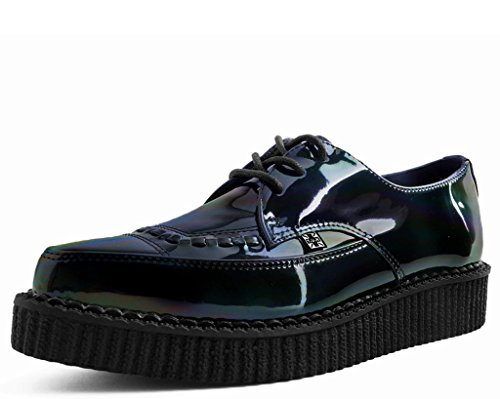 Tuk Schoenen A9330 Unisex-volwassen Klimplanten, Zwart Hologram Patent Lace Up Wees Creeper