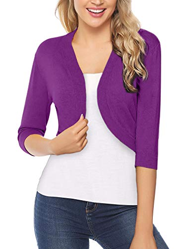 iClosam Women Open Front Cardigan 3/4 Sleeve Long Sleeve Cropped Bolero Shrug (Rose Purple, Large)