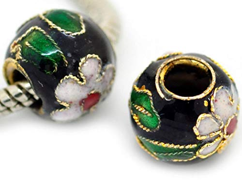 2PCs Black Pink Green Flowers Cloisonne Metal Bead for European Charm Bracelets Vintage Crafting Pendant Jewelry Making Supplies - DIY for Necklace Bracelet Accessories by CharmingSS