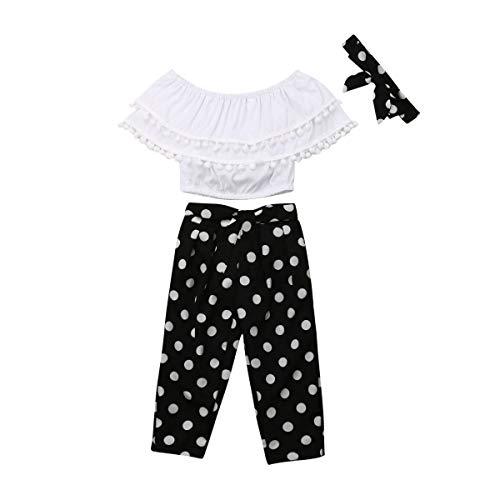 Toddler Baby Girls 2Pcs Set,Kids Ruffle Vest Crop Tops+Floral Wide Leg Pants Summer Outfits (6-7 Years, Polka dot)