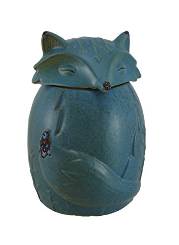 Ceramic Cookie Jars Blue Ceramic Snow Fox Cookie/Treat Jar 5 X 7.5 X 5 Inches Blue by Zeckos